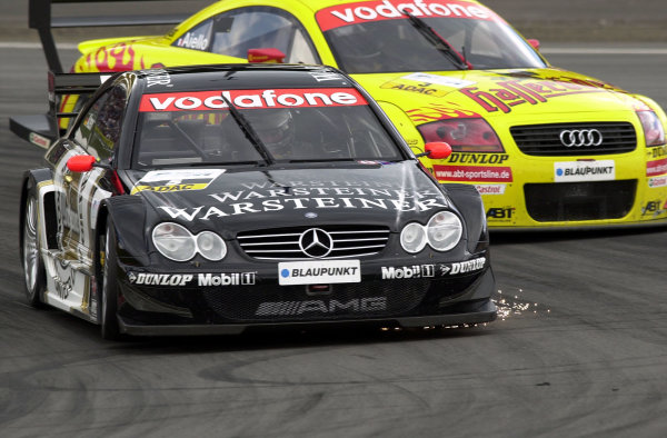 2002 DTM Championship Nurburgring, Germany. 2th - 4th August 2002. Race winner Uwe Alzen (Mercedes CLK-DTM) leads Laurent Aiello (Abt Audi TT-R), action.World Copyright: Andre Irlmeier/LAT Photographic