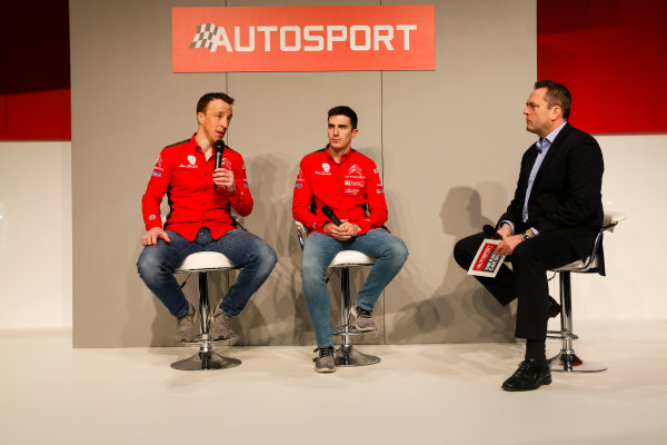 Autosport International Exhibition. National Exhibition Centre, Birmingham, UK. Friday 12th January 2018. Kris Meeke and Craig Breen of Citroen talk to Henry Hope-Frost on the Autosport Stage. World Copyright: Joe Portlock/LAT Images Ref: _L5R8914