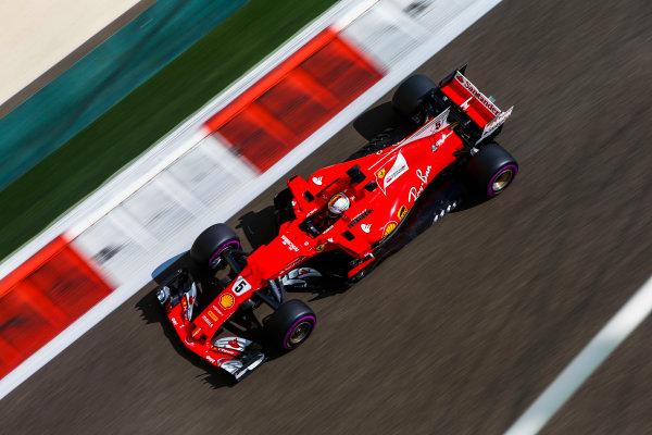 Yas Marina Circuit, Abu Dhabi, United Arab Emirates. Friday 24 November 2017. Sebastian Vettel, Ferrari SF70H. World Copyright: Andy Hone/LAT Images  ref: Digital Image _ONZ8531