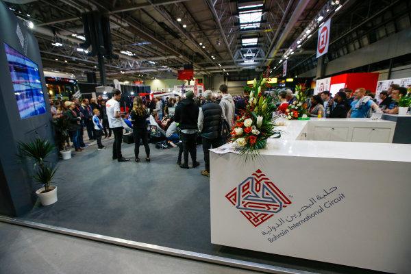 Autosport International Exhibition. National Exhibition Centre, Birmingham, UK. Saturday 13th January, 2018. The Bahrain International Circuit stand.World Copyright: Joe Portlock/LAT Images Ref: _L5R0127