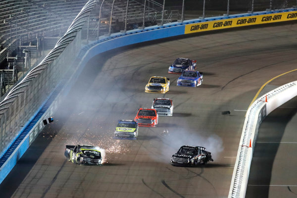 NASCAR Camping World Truck Series  Lucas Oil 150 Phoenix Raceway, Avondale, AZ USA Friday 10 November 2017 Christopher Bell, JBL Toyota Tundra, Noah Gragson, Switch Toyota Tundra, crash, Justin Haley, Zeality Chevrolet Silverado World Copyright: Michael L. Levitt LAT Images