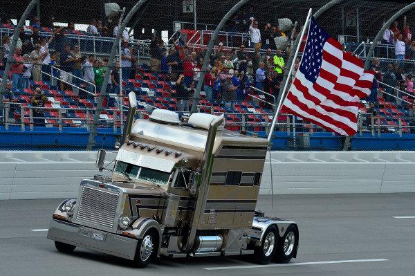 October 18-19, 2013, Talladega, Alabama USA American Flag on truck © 2013, Brian Czobat LAT Photo USA