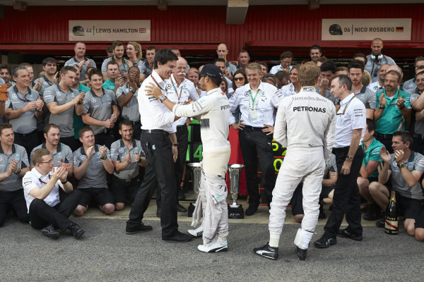 Circuit de Catalunya, Barcelona, Spain. Sunday 11 May 2014. Toto Wolff, Executive Director (Business), Mercedes AMG, Dr Dieter Zetsche, CEO, Mercedes Benz, Lewis Hamilton, Mercedes AMG, 1st Position, Nico Rosberg, Mercedes AMG, 2nd Position, and the Mercedes AMG team celebrate a perfect weekend. World Copyright: Steve EtheringtonLAT Photographic. ref: Digital Image SNE25402 copy