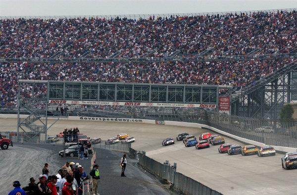 04-06 June, 2004, Dover International Speedway, USA,Cars race under the new Dupont Monster Bridge into turn 3,Copyright-Robt LeSieur 2004 USALAT Photographic