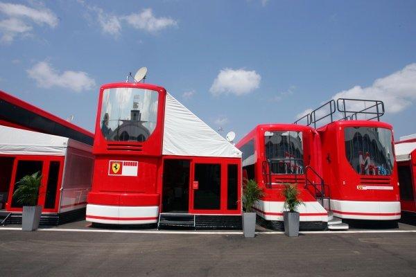 Ferrari motorhome in the paddock. Formula One World Championship, Rd14, Turkish Grand Prix, Preparations, Istanbul Park, Turkey, 17 August 2005. DIGITAL IMAGE