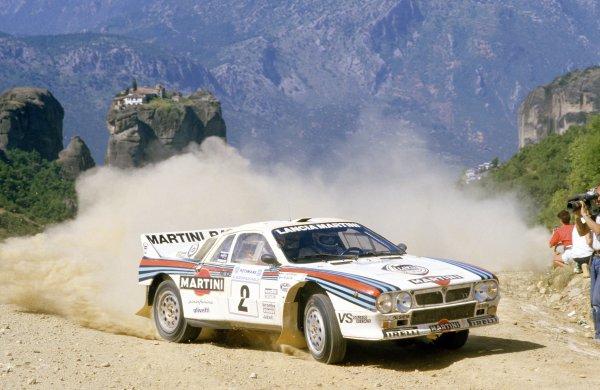 1983 World Rally Championship.Acropolis Rally, Greece. 30 May-2 June 1983.Markku Alen/Ilkka Kivimaki (Lancia Rally 037), 2nd position.World Copyright: LAT PhotographicRef: 35mm transparency 83RALLY13