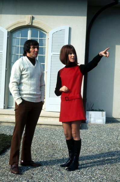 Jackie Stewart and his wife Helen at their house in Switzerland in 1971