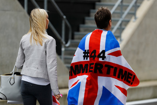 Silverstone, Northamptonshire, UK Friday 08 July 2016. Fans of Lewis Hamilton, Mercedes AMG, in the Paddock Club. World Copyright: Steven Tee/LAT Photographic ref: Digital Image _H7I4580