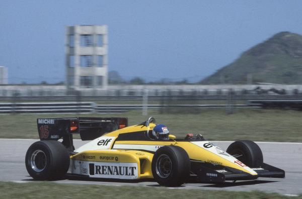 Jacarepagua, Rio de Janeiro, Brazil. 23rd - 25th March 1984. Patrick Tambay (Renault RE50), 5th position, action. World Copyright: LAT Photographic.Ref:  84BRA