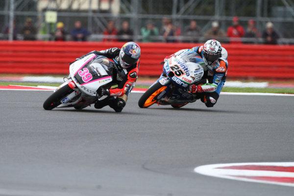 British Grand Prix.  Silverstone, England. 15th-17th June 2012.  Moto3. Luis Salom, Kalex KTM, leads Maverick Vinales, FTR Honda.  World Copyright: Kevin Wood/LAT Photographic.  ref: Digital Image IMG_8745a