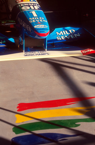 Barcelona, Spain.12-14 May 1995.The nose of Michael Schumacher's Benetton B195 Renault in the garage.Ref-95 ESP 03.World Copyright - LAT Photographic
