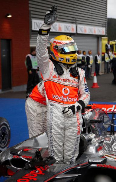 Spa Francorchamps, Spa, Belgium. 6th September 2008. Lewis Hamilton, McLaren MP4-23 Mercedes, celebrates pole. Portrait. Helmets.  World Copyright: Steve Etherington/LAT Photographic ref: Digital Image SNE28770