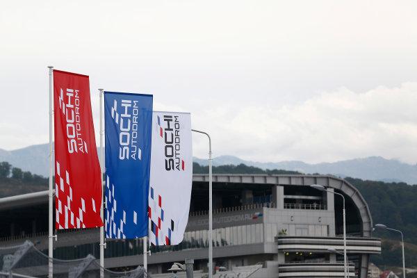 2014 GP3 Series. Round 8.   Sochi Autodrom, Sochi, Russia.  Wednesday 8 October 2014. Sochi Autodrom flags Photo: Sam Bloxham/GP3 Series Media Service. ref: Digital Image _SBL6068