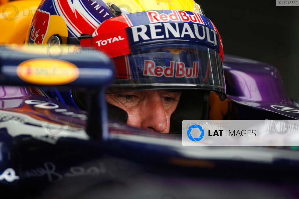 Bahrain International Circuit, Sakhir, Bahrain Friday 19th April 2013 Mark Webber, Red Bull Racing.  World Copyright: Glenn Dunbar/LAT Photographic ref: Digital Image _89P0593