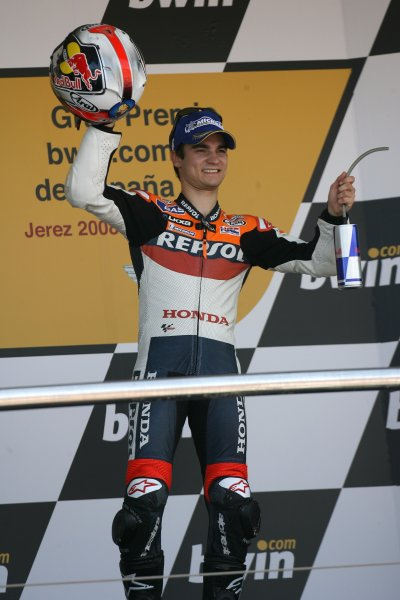 2008 Moto GP ChampionshipJerez, Spain. 28th - 30th March 2008.Dani Pedrosa salutes his home fans on the podium.World Copyright: Martin Heath/LAT Photographicref: Digital Image Only