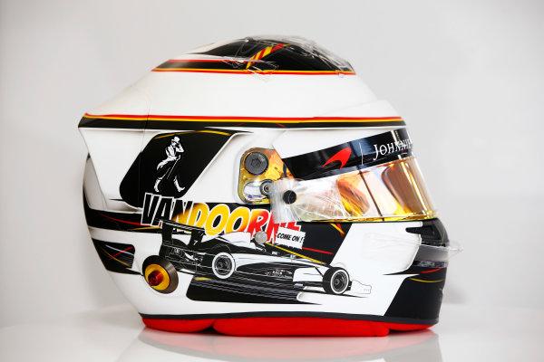 Spa Francorchamps, Belgium.  Thursday 24 August 2017. Stoffel Vandoorne, McLaren, crash helmet detail, showing a new design for his home grand prix. World Copyright: Andy Hone/LAT Images  ref: Digital Image _ONY3049
