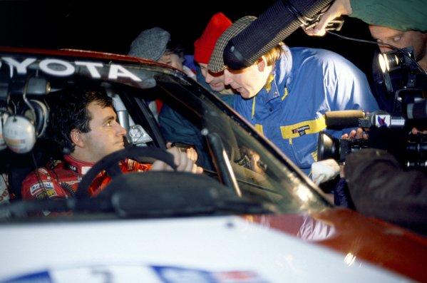 1990 World Rally Championship.Lombard RAC Rally, Great Britain. 25-28 November 1990.Carlos Sainz/Luis Moya (Toyota Celica GT4), 1st position.World Copyright: LAT PhotographicRef: 35mm transparency 90RALLY