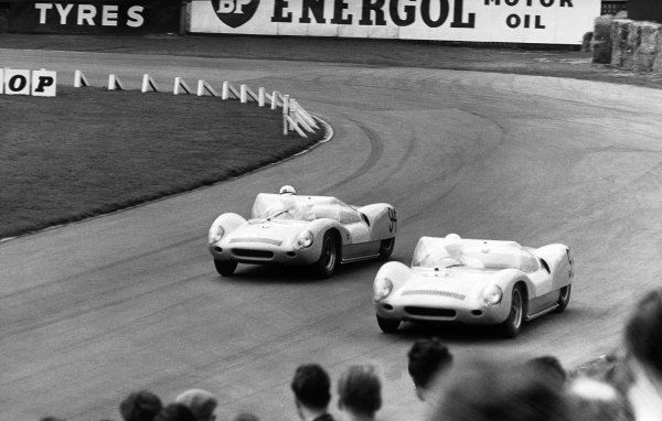 Aintree, England. 22nd April 1961.Stirling Moss (Lotus 19 Monte Carlo), 1st position, leads Henry Taylor (Lotus 19 Monte Carlo), 2nd position, action. World Copyright: LAT PhotographicRef: Autocar Used Pic 28th April 1961 Pg 678.