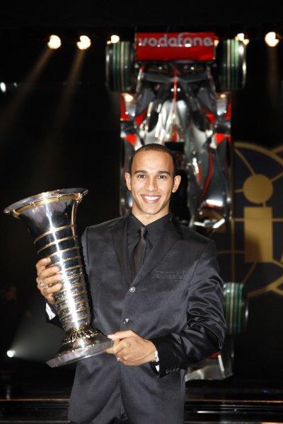 Lewis Hamilton (GBR) with the F1 World Champion trophy. FIA Gala Awards Ceremony, Monte Carlo, Monaco, 12 December 2008.