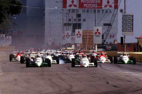 The start of the race.Macau Formula 3 Grand Prix, Macau, Hong Kong, November 1986.