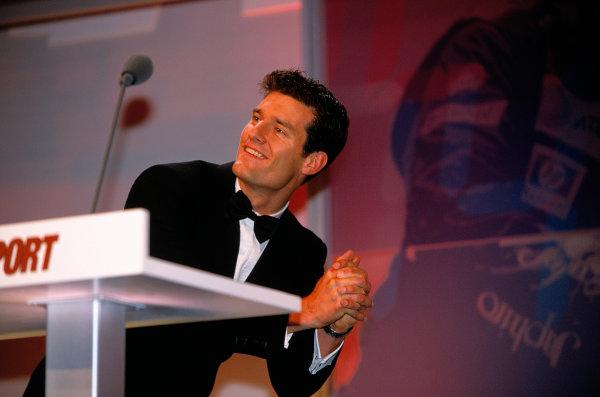 2003 Autosport AwardsGrosvenor Hotel, London, EnglandAustralian Mark Webber does a good impression of England rugby star Jonny Wilkinson.World Copyright: Bloxham/LATref: 35mm Transparency (30mb scan)