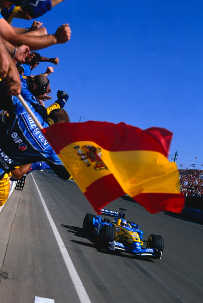 2003 Hungarian Grand PrixBudapest, Hungaroring, Hungary.22nd-24th August 2003Fernando Alonso, Renault R23, wins his first ever Grand Prix.World Copyright: Steven Tee / LAT Photographic ref: 35mm Image 03HungA47