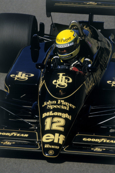 1986 United States Grand Prix.Detroit, Michigan, U.S A. 20-22 June 1986.Ayrton Senna (Lotus 98T Renault) 1st position.Ref-86 USA 17.World Copyright - LAT Photographic