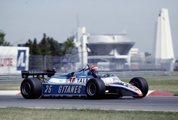 1982 Canadian Grand Prix.Montreal, Quebec, Canada.11-13 June 1982.Eddie Cheever (Ligier JS17B Matra) 10th position.Ref-82 CAN 30.World Copyright - LAT Photographic