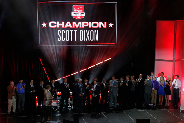 31 August, 2015, San Francisco, California USA Scott Dixon receives the Championship Trophy ?2015, Phillip Abbott LAT Photo USA
