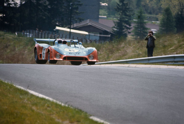 Nurburgring, Germany. 19th May 1974. Rd 3.Derek Bell/Mike Hailwood (Mirage GR7 Ford), retired, action. World Copyright: LAT Photographic.Ref:  74SCARS