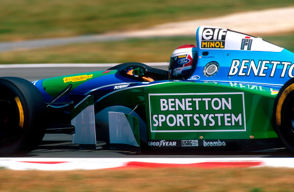 1994 French Grand Prix.Magny-Cours, France.30/6-2/7 1994.Jos Verstappen (Benetton B194 Ford). He exited the race when he spun out at the first corner under braking.Ref-94 FRA 13.World Copyright - LAT Photographic