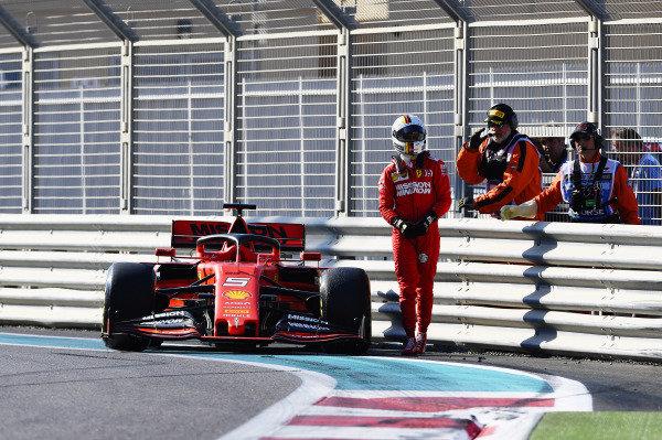 Sebastian Vettel, Ferrari SF90, walks away from his car after a crash