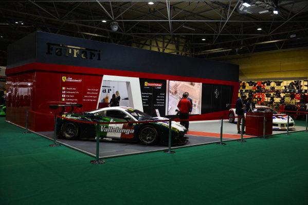 Ferrari 488 race cars on the Ferrari Challenge stand.