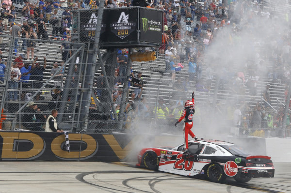 #20: Christopher Bell, Joe Gibbs Racing, Toyota Supra Rheem celebrates after winning the Allied Steel Buildings 200 at Dover International Speedway on Saturday 4 May.