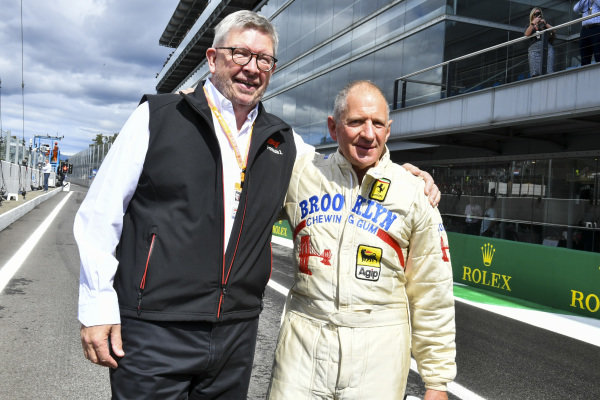 Ross Brawn, Managing Director of Motorsports, FOM, with Jody Scheckter, 1979 World Champion