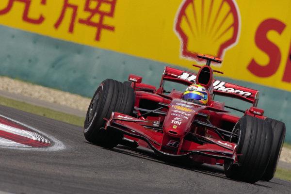 Felipe Massa, Ferrari F2007 slides into the corner.