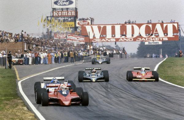 Nelson Piquet, Brabham BT48 Alfa Romeo leads Jacques Laffite, Ligier JS11 Ford as Mario Andretti, Lotus 79 Ford fights alongside Jody Scheckter, Ferrari 312T4.