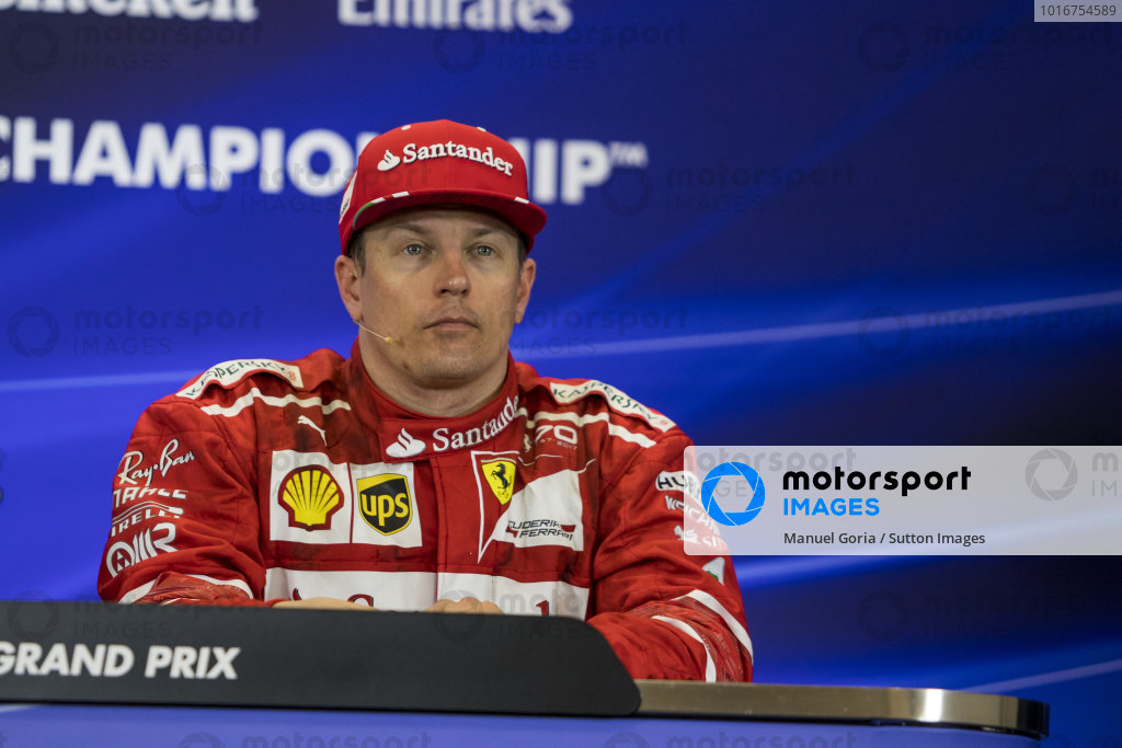 Kimi Raikkonen (FIN) Ferrari in the Press Conference at Formula One World Championship, Rd17, United States Grand Prix, Race, Circuit of the Americas, Austin, Texas, USA, Sunday 22 October 2017.