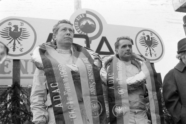 Winners Phil Hill and Olivier Gendebien on the podium.