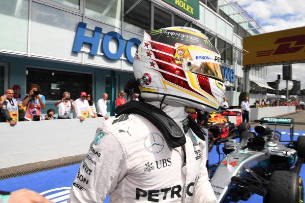 Race winner Lewis Hamilton (GBR) Mercedes AMG F1 celebrates in parc ferme at Formula One World Championship, Rd12, German Grand Prix, Race, Hockenheim, Germany, Sunday 31 July 2016.