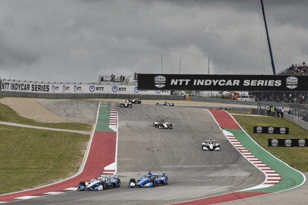 Josef Newgarden, Team Penske Chevrolet, Felix Rosenqvist, Chip Ganassi Racing Honda