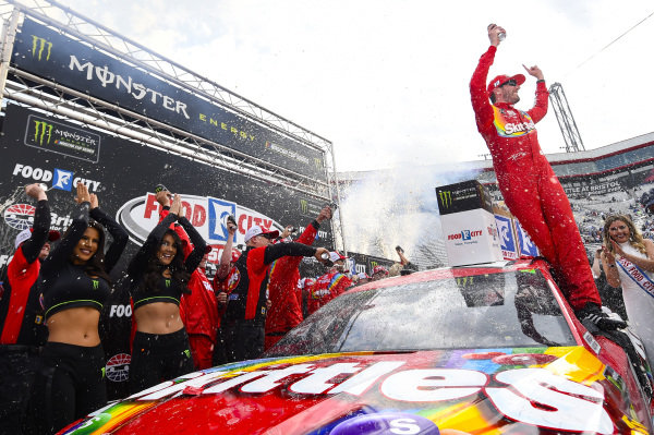 #18: Kyle Busch, Joe Gibbs Racing, Toyota Camry Skittles, celebrates in Victory Lane.