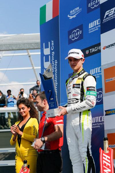 2017 FIA Formula 3 European Championship. Round 2 - Monza, Italy. Sunday 30 April 2017. Podium: second place Lando Norris, Carlin Dallara F317 - Volkswagen World Copyright: James Gasperotti/LAT Images ref: Digital Image _JG14828
