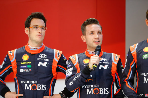 Autosport International Exhibition. National Exhibition Centre, Birmingham, UK. Thursday 11th January 2017. Hyundai WRC drivers on the Autosport Stage, including Thierry Neuville and Andreas Mikkelsen.World Copyright: Ashleigh Hartwell/LAT Images ref: Digital Image _R3I8127