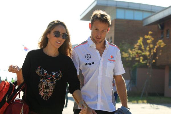 Korea International Circuit, Yeongam-Gun, South Korea. Saturday 5th October 2013. Jenson Button, McLaren, with Jessica Michibata. World Copyright: Charles Coates/LAT Photographic. ref: Digital Image _X5J9327