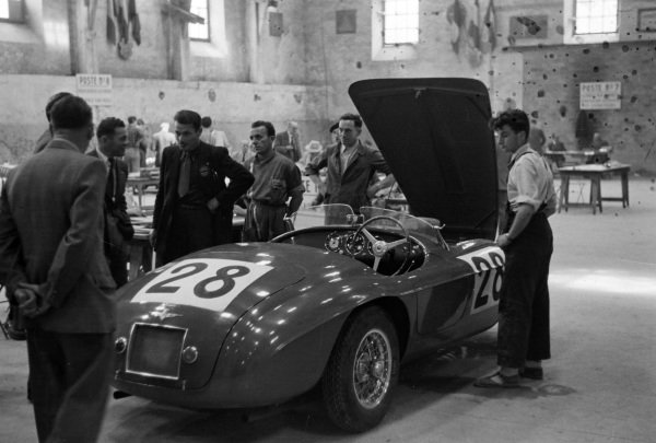 The Ferrari 166 MM of Hon Peter Mitchell-Thompson / Jean Lucas line up during scrutineering.