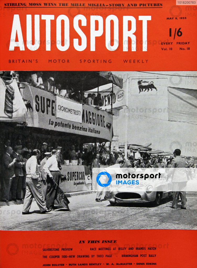 Cover of Autosport magazine, 6th May 1955. Main Picture: Stirling Moss and Denis Jenkinson, win the Mille Miglia in a Mercedes-Benz 300SLR.