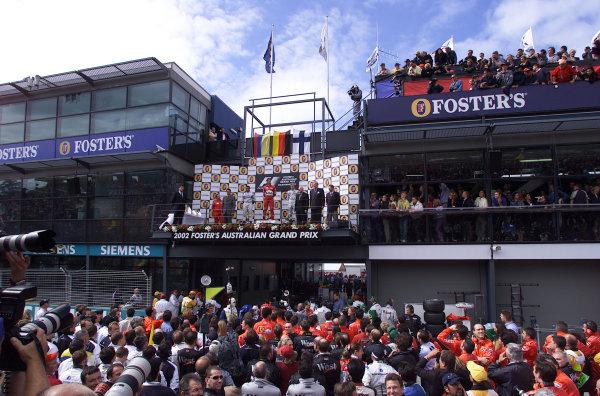2002 Qantas Australian Grand Prix - Race.Albert Park, Melbourne, Australia. 3rd March 2002.MIchael Schumacher (Ferrari) on the podium.World Copyright - LAT PhotographicRef: 18mb Digital Image Only