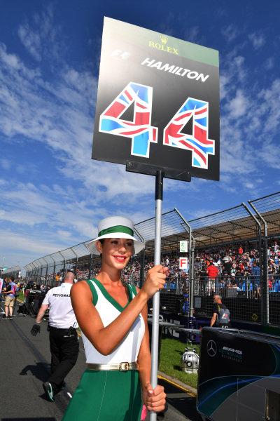 Grid girl at Formula One World Championship, Rd1, Australian Grand Prix, Race, Albert Park, Melbourne, Australia, Sunday 26 March 2017.