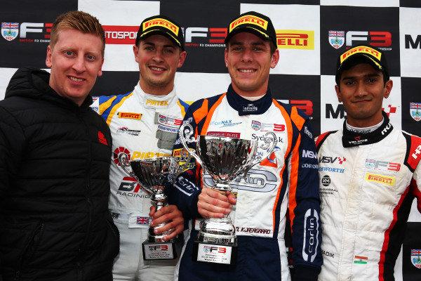 Race 1 Podium (l-r) Adam Morgan (GBR) Jamie Caroline (GBR) Carlin BRDC British F3, Nicolai Kjaergaard (DEN) Carlin BRDC British F3, Krishnaraaj Mahadik (IND) Double R BRDC British F3